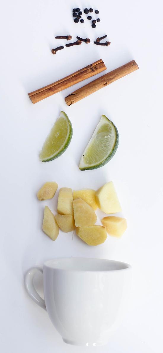 瓷杯 柠檬 桂皮  食材 姜