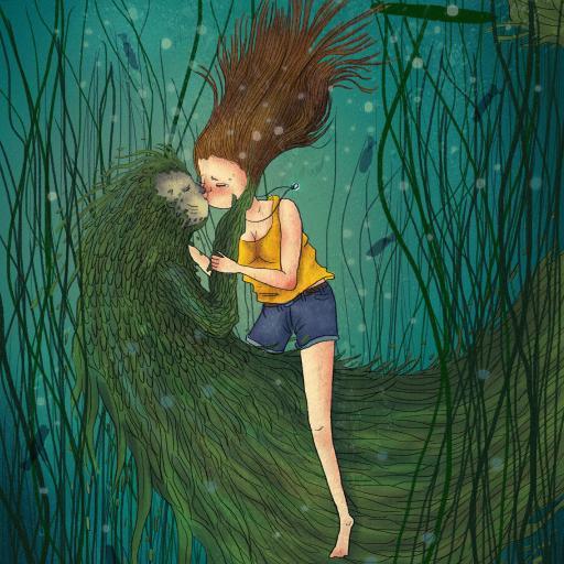 插画 池塘 女孩 亲吻