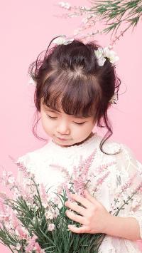 小女孩 鲜花 儿童 粉色 孩子