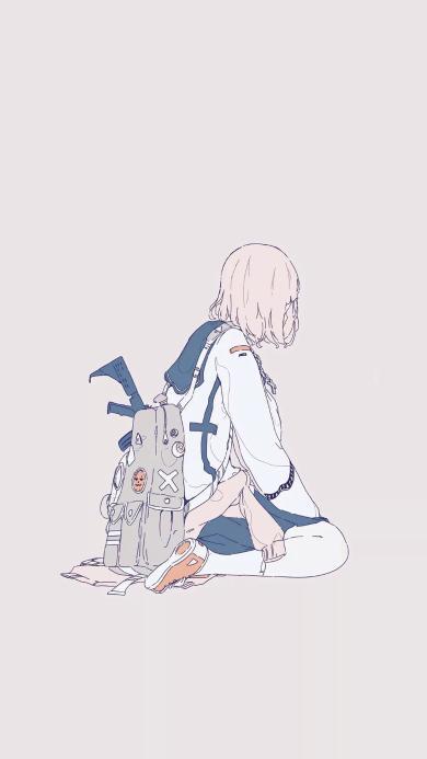日系 少女 水手服 枪支