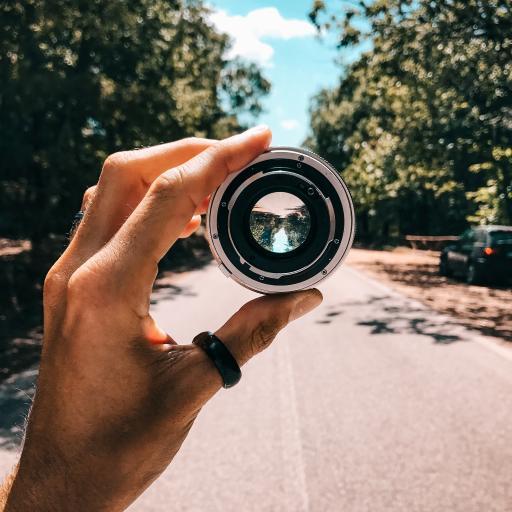 镜头 道路 相机 圆 手