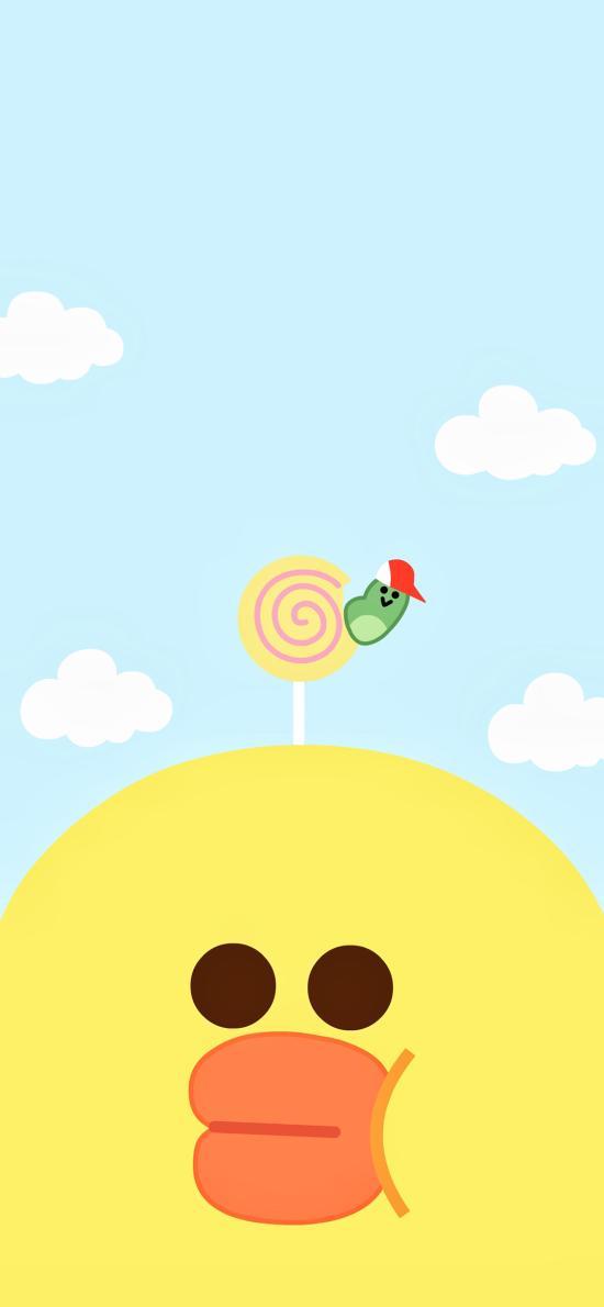 萨莉鸡 line friends 卡通 可爱 天空