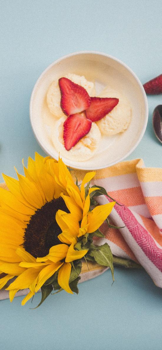 奶昔 水果 草莓 香蕉 非洲菊