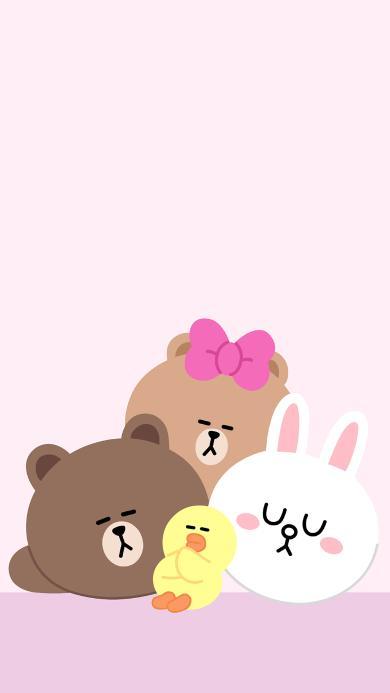 line friends 动画 布朗熊 可妮兔 萨莉鸡 粉色 可爱