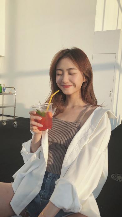 女孩 甜美 网红 饮料 可爱