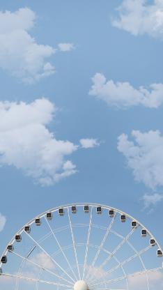 摩天轮 游乐场 蓝天白云