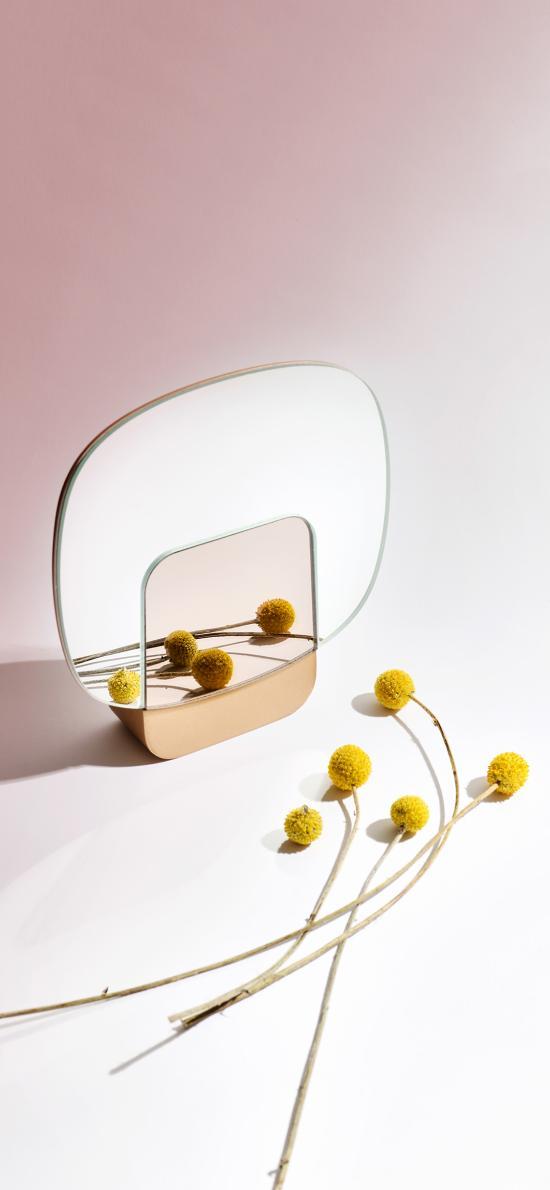 镜子 干花 黄色 装饰
