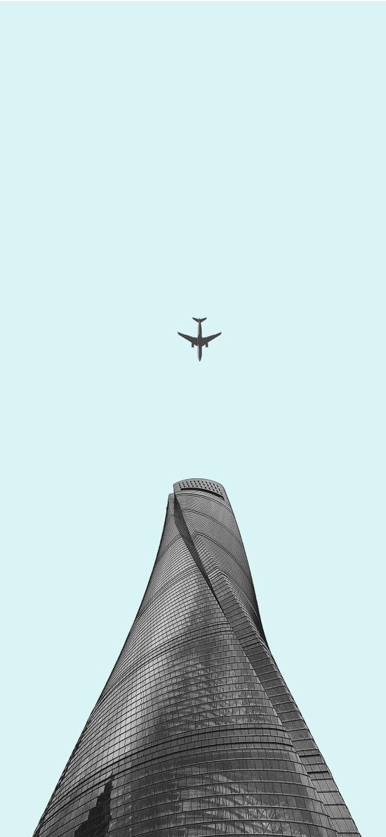 飞机 建筑 天空 仰拍