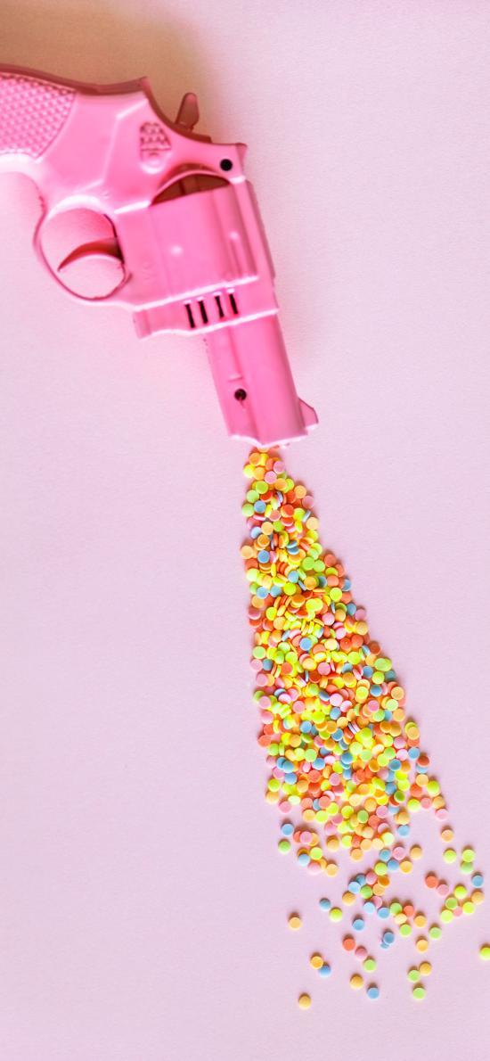 玩具枪 粉 颗粒  色彩