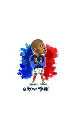 基利安·姆巴佩 足球运动员 法国 Q版手绘