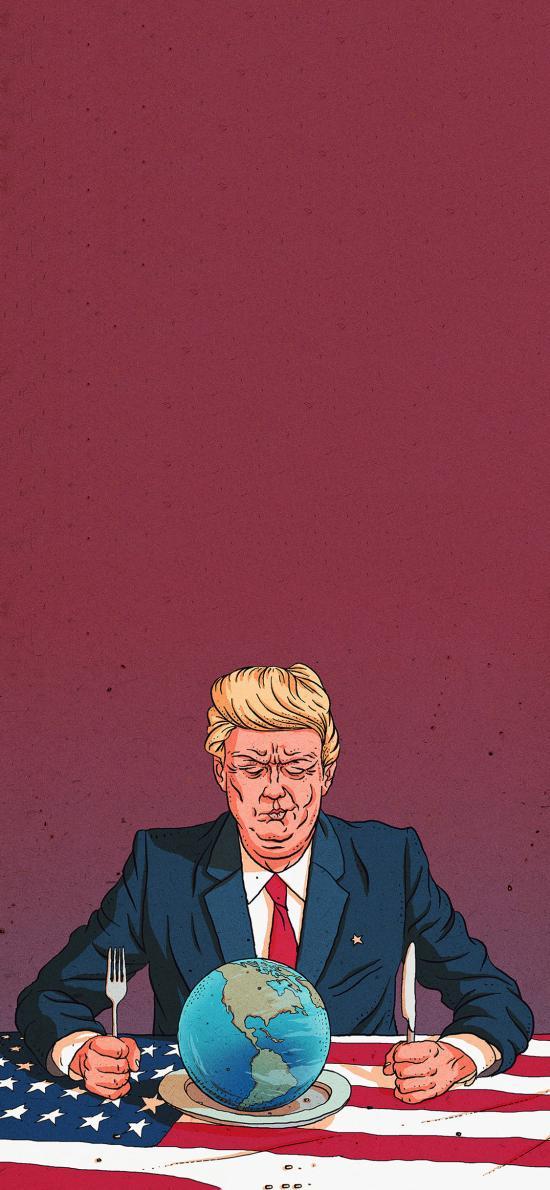 美国 总统 川普 插画