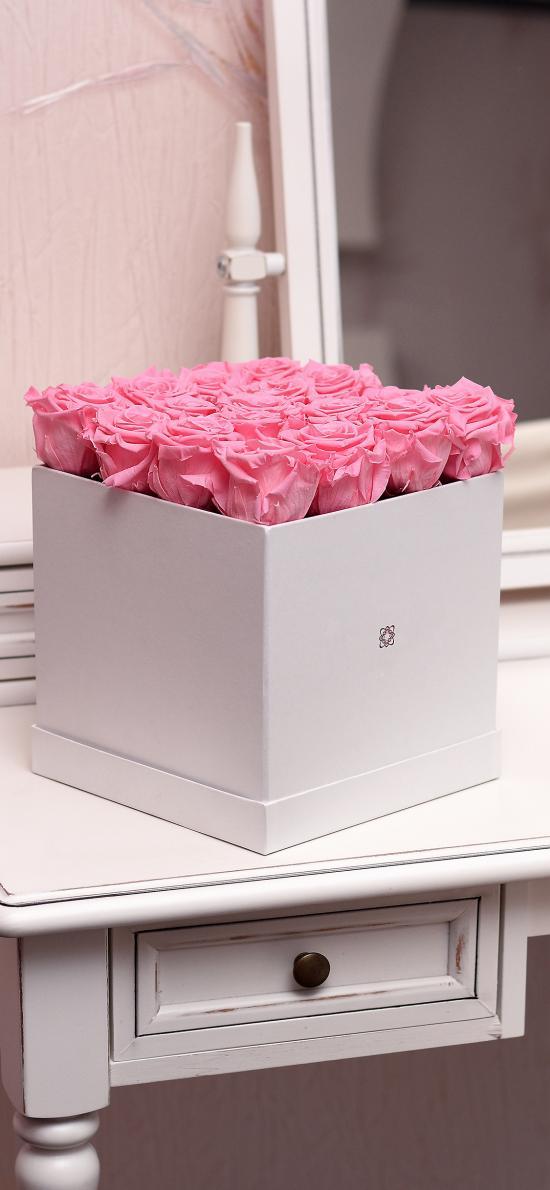 玫瑰 盒子 花盒 创意 平铺