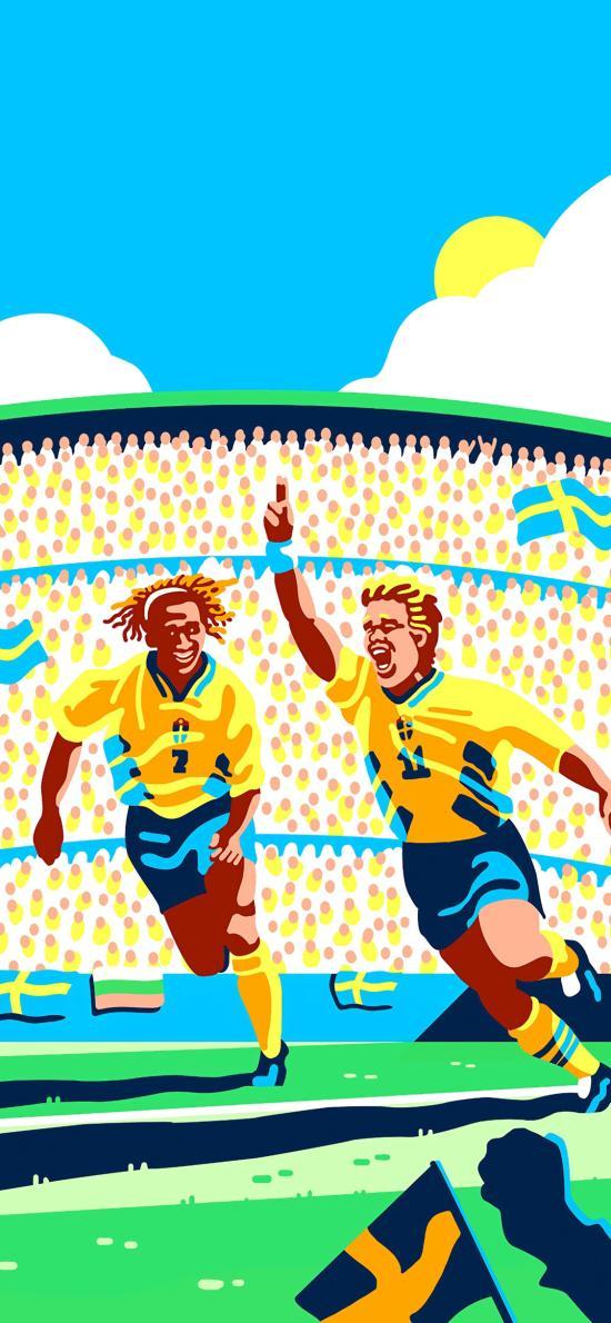 足球 運動 球場 插畫 比賽 歡呼
