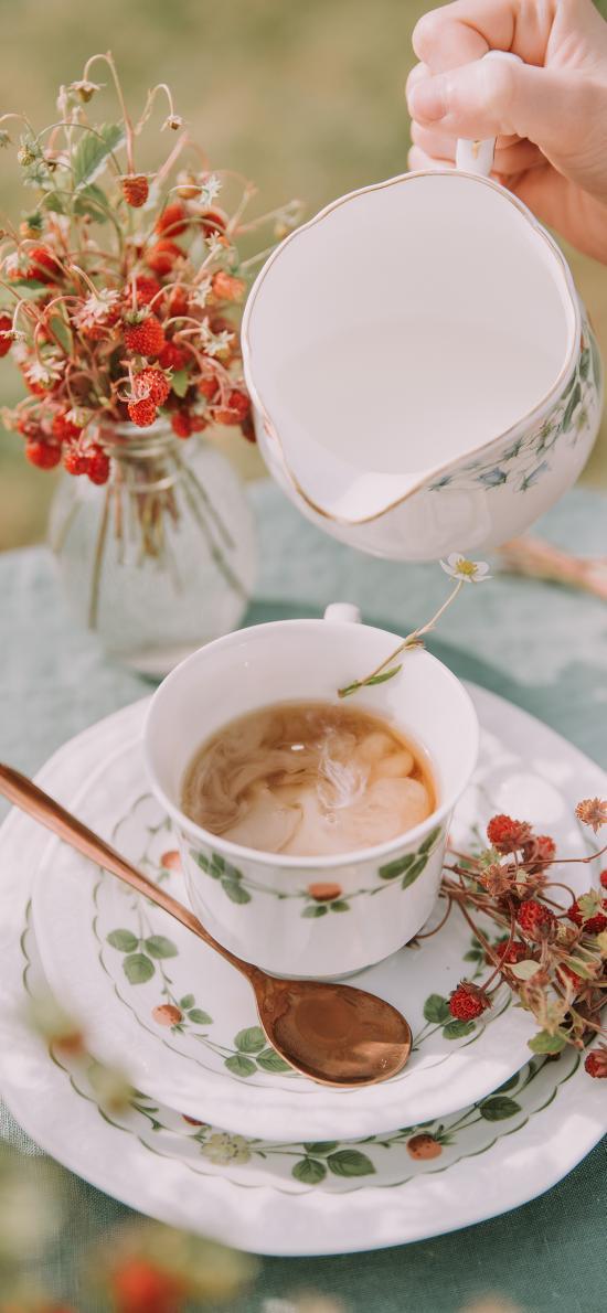 奶茶 下午茶 杯具 干花