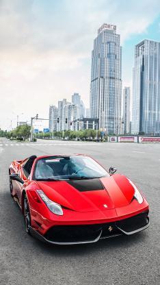 法拉利 超级跑车 敞篷 炫酷 城市 建筑
