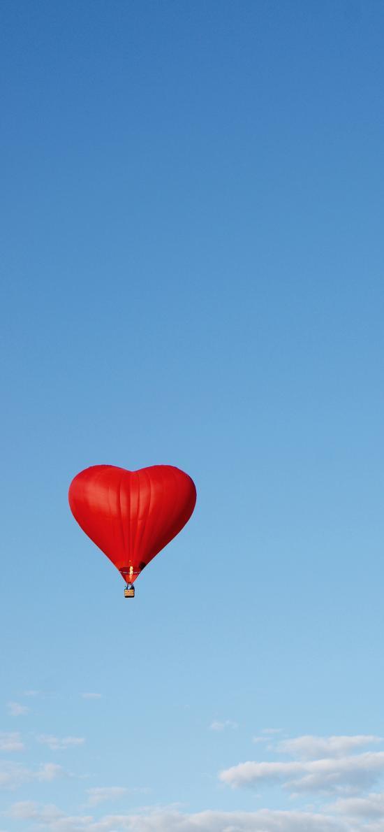 热气球 爱心 飞行 蓝天