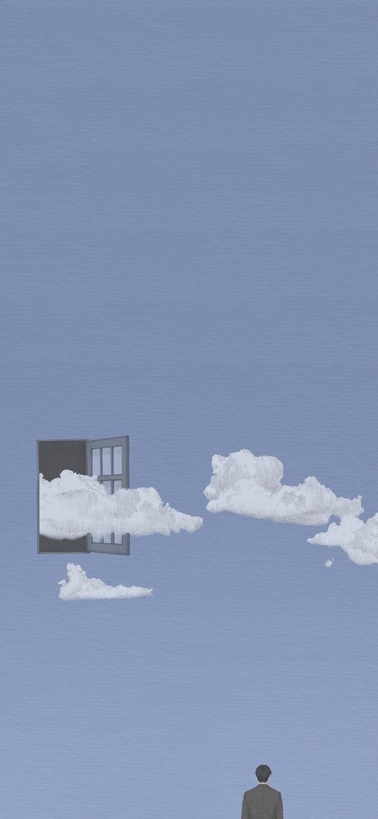 云 插画 男子 背影 窗 蓝色