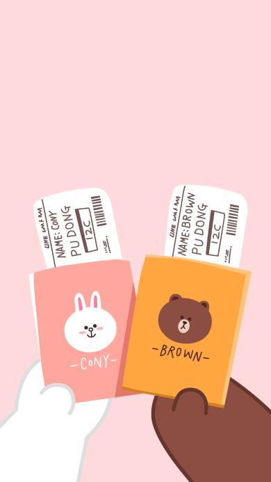 line friends 布朗熊 可妮兔 护照 卡通 可爱