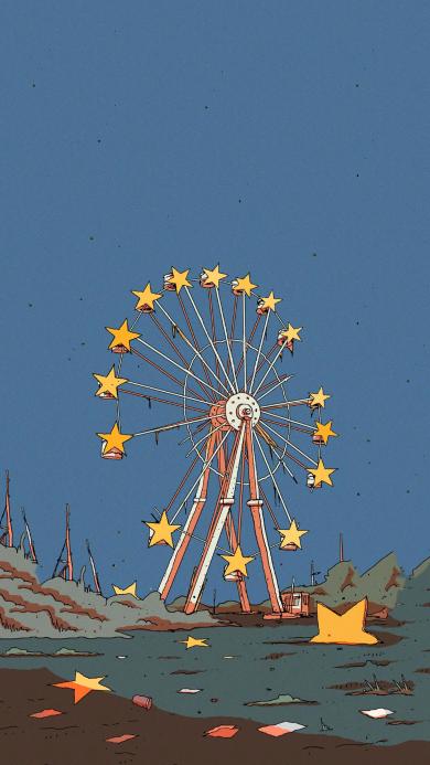 摩天轮 插画 星星 梦幻