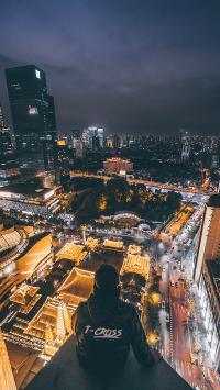 背影 城市 夜景 璀璨 高楼