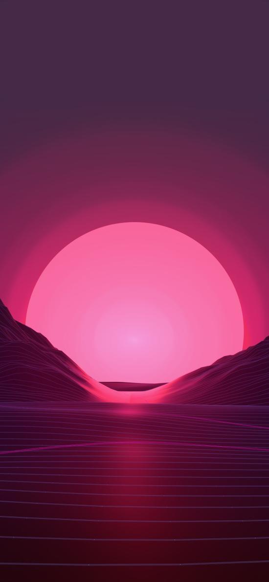 日落 平面 几何 山 海