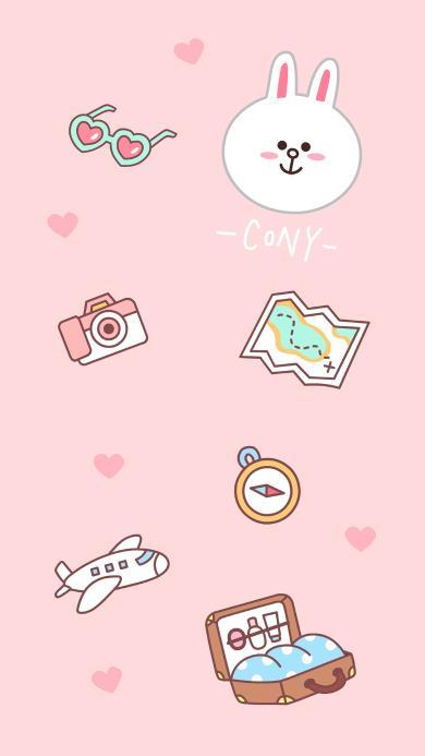 line friends 可妮兔 卡通 可爱 旅行 飞机 相机 地图 粉色