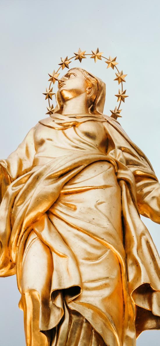圣母玛利亚 雕塑 星星 金色 信仰