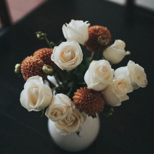 花瓶 鲜花 白玫瑰 插花