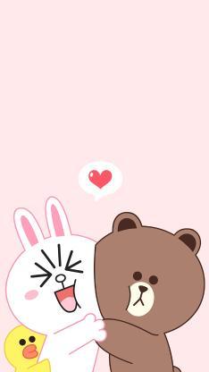 line friends 布朗熊 可妮兔 萨莉鸡 动画 爱心 粉色 爱情