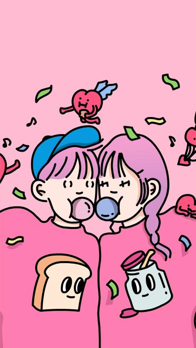 泡泡糖 情侣 粉色 爱情 爱心
