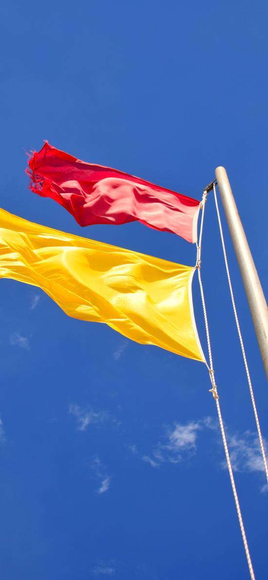 旗帜 旗子 飘扬 蓝天 色彩