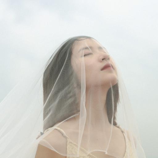 女孩 白纱 罩面 45° 仰望