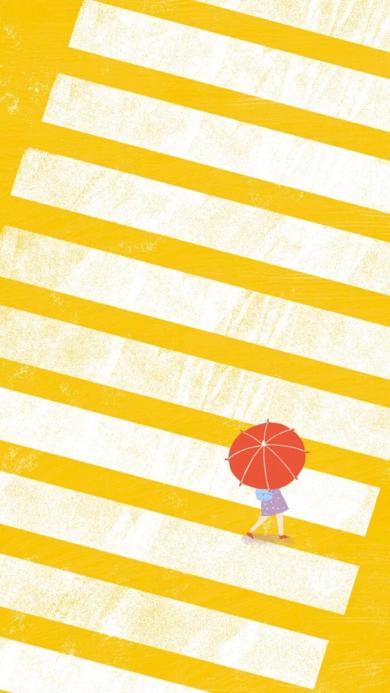 场景 插画 斑马线 红伞