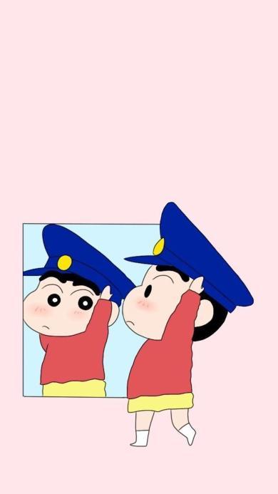蜡笔小新 动画 粉色 日本 镜子