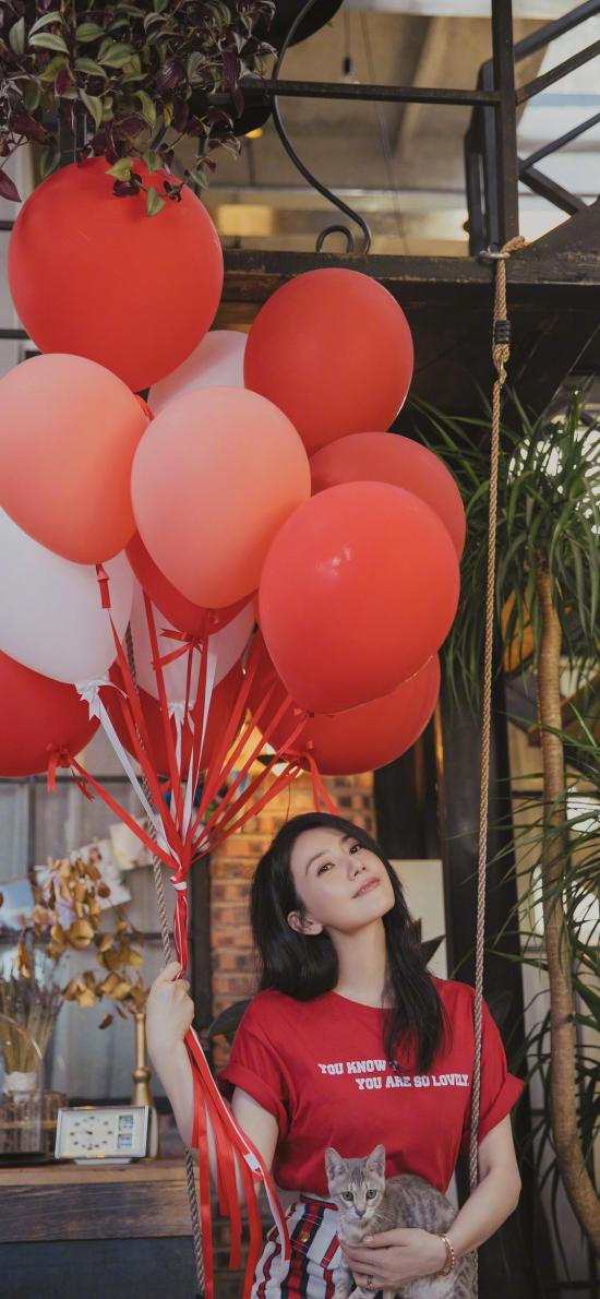 高圓圓 演員 明星 藝人 紅色 氣球