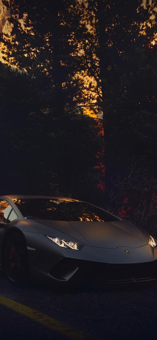 兰博基尼 超级跑车 炫酷 黑暗 道路