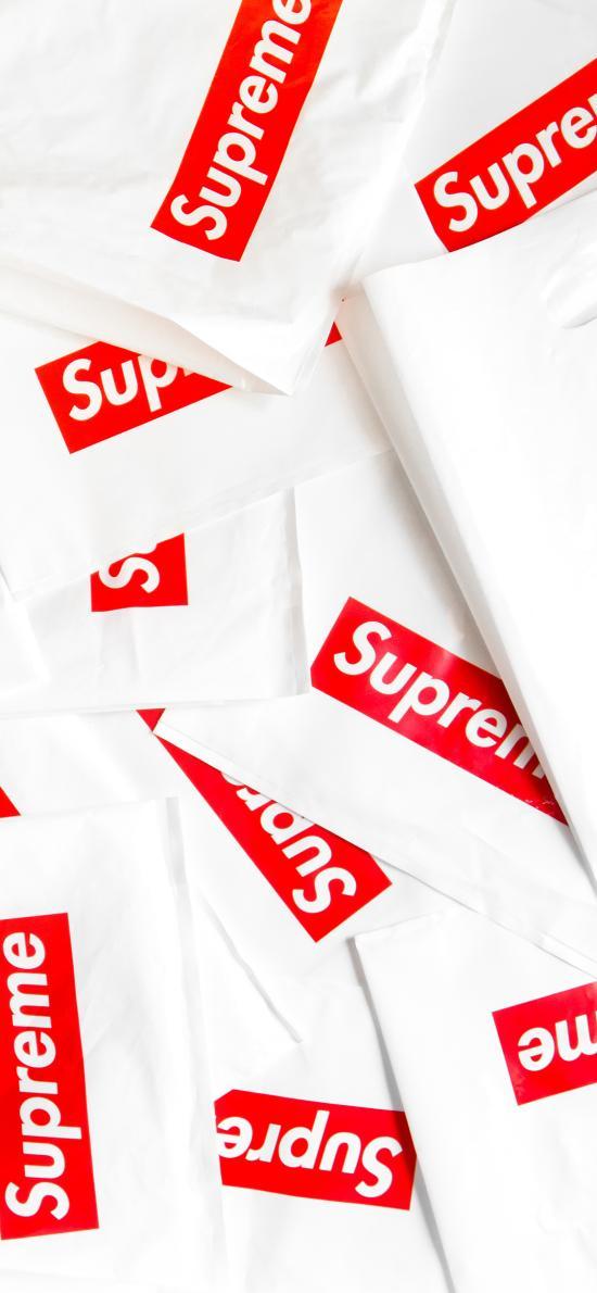 品牌 supreme 平铺 购物袋