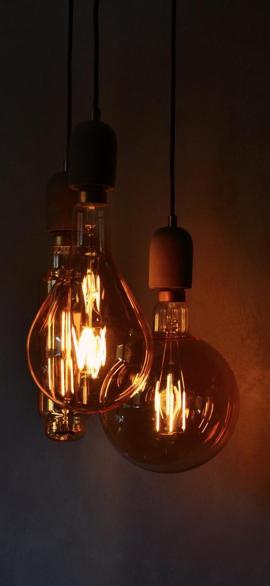 灯泡 钨丝 玻璃泡 夜晚 光亮
