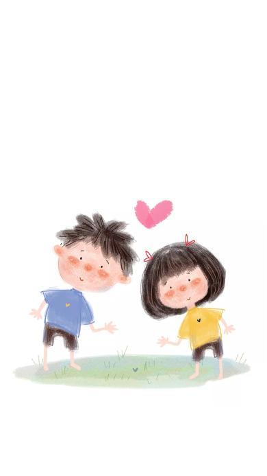 情侣 插画 卡通 爱心