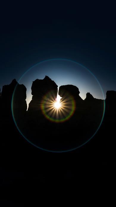 烈日 光晕 群山 自然