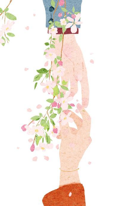 牵手 情侣 爱情 浪漫 鲜花 插画