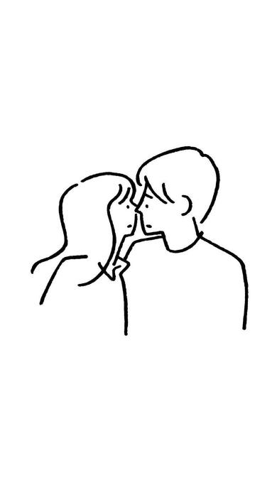 亲吻 黑白 简笔画 爱情 情侣