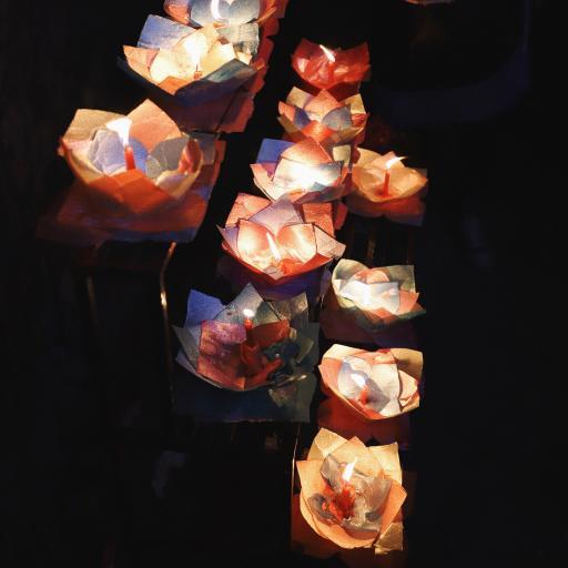 荷花灯 蜡烛 祈祷 祈福