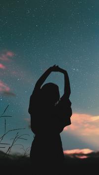 夜景 星空 女孩 背影