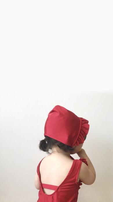 罗熙 小女孩 背影 可爱 小红帽 儿童
