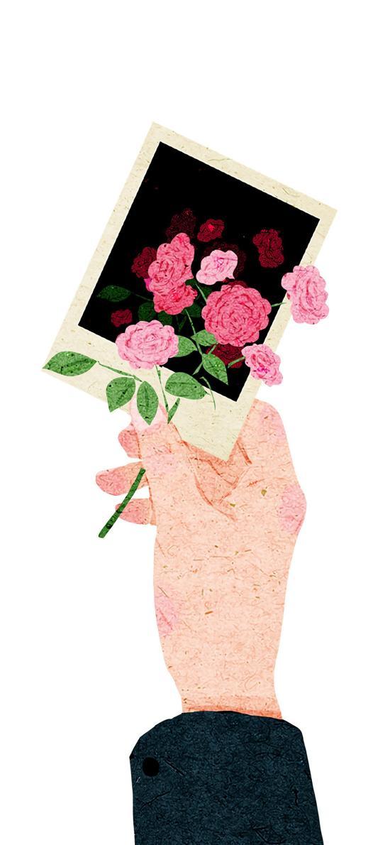 卡片 花 手 禮物 愛情 浪漫