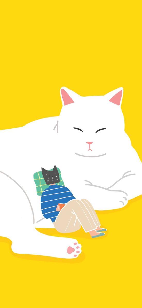 卡通 插画 猫咪 大白