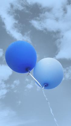 气球 蓝色 飞舞 天空