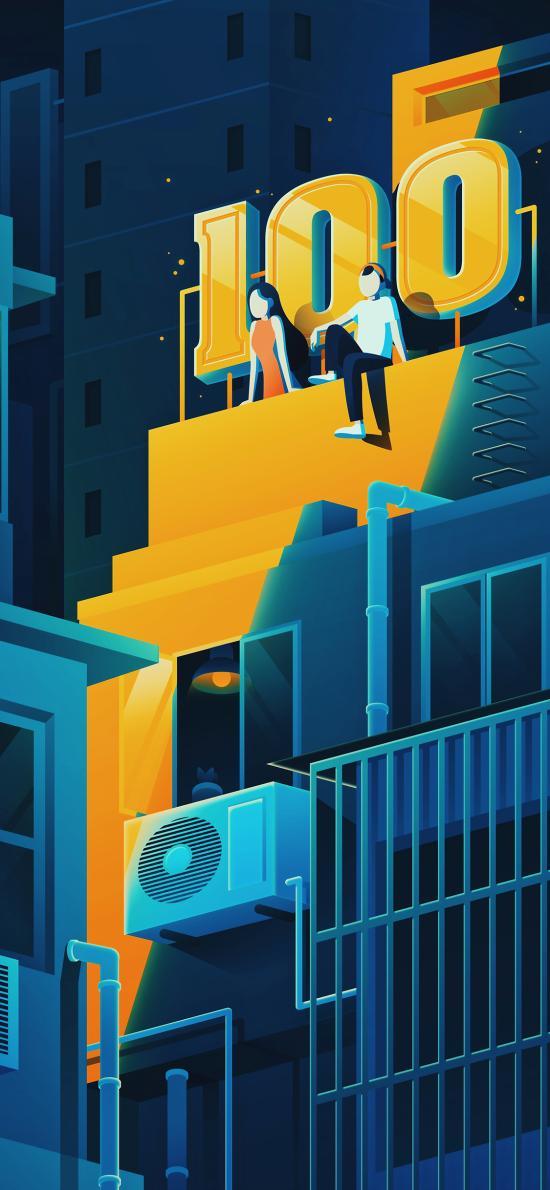 屋顶 楼房 男女 夜晚 插画