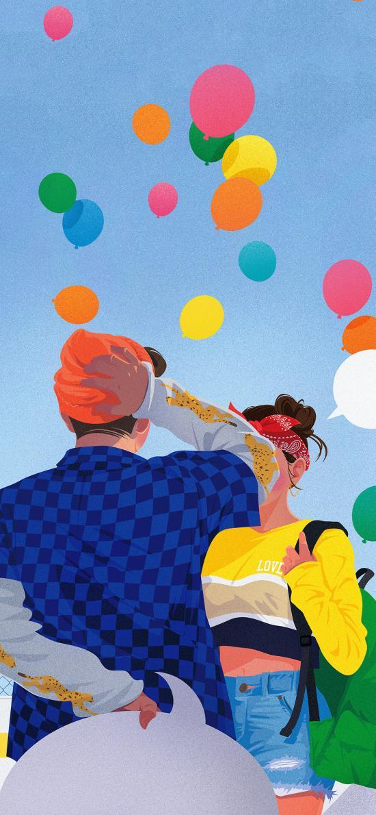 情侣 爱 气球 浪漫 男女 色彩